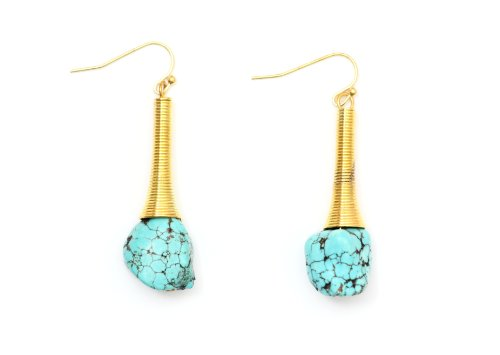 Turquoise Chunk Dangling Earrings Antique Gold Tone Coil Southwestern Howlite Chandelier Fashion Jewelry