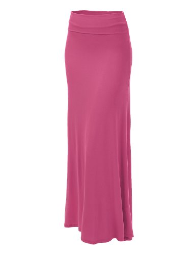 J.Tomson Womens Basic Foldover Jersey Maxi Skirt Fuchsia Medium
