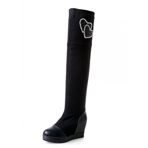 Voguezone009 Womens Closed Round Toe Kitten Heel Fabric Pu Solid Boots With Glass Diamond, Black, 35