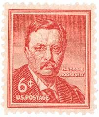 #1039 - 1955 6c Theodore Roosevelt Postage Stamp Numbered Plate Block (4)