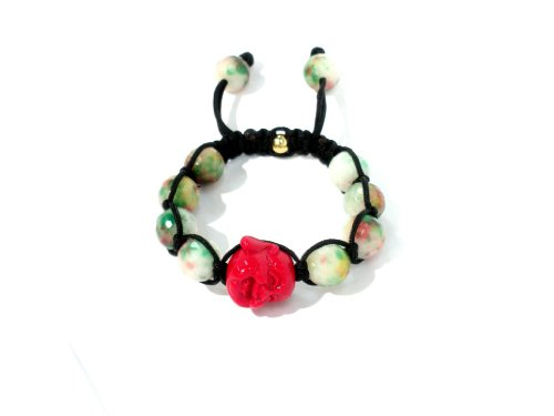 Shamballa Bracelet 12mm Genuine Faceted Candy Jade Stones with Red Happy Buddha Macrame Lock Adjustable Unisex