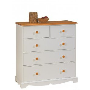 Beaux Meubles Pas Chers - White and Honey 5 Drawer Chest