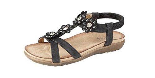 Donna Diamante Fiori Mule sandali, nero (Black), 36.5