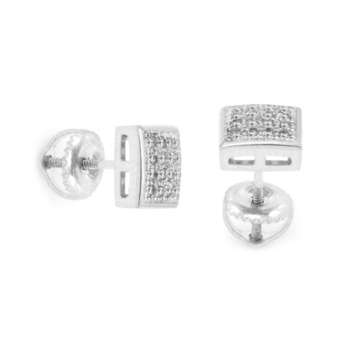 Mens 7Mm White Gold Plated Cz Micro Pave Iced Out Hip Hop Smooth Square Stud Earrings Screw Backs 05