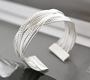 CosmoCow JD022 Vintage Style Alloy Weave Silver Color Bracelet 1 Piece (Silver)