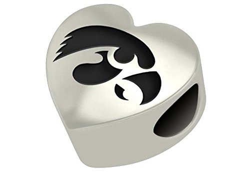 Iowa Hawkeyes Sterling Silver Heart Bead Fits Most European Style Bracelets