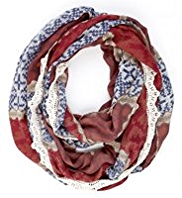 Indigo Collection Lightweight Lace Border Snood Scarf