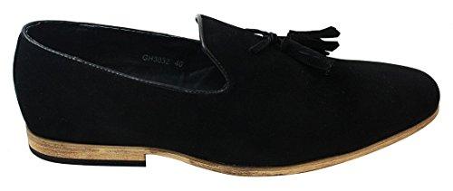 Mens Suede Shoes Mocassini Guidare Slip On Tassle design pelle foderata Comfort Nero