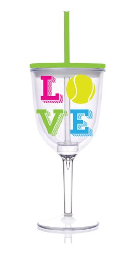 Insulated Wine Glass With Straw front-459250