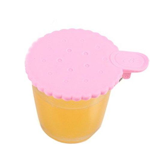 BestCool Wasserleck Silikonkautschuk Becher Deckel Schöne Kreative Ungiftiges Silikon Universaldeckel Deckel Blume Spitze - Rosa Pink