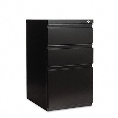 Alera Three-Drawer Mobile Ped File w/Full-Length Pull, 15-7/8w x19-1/4d, Black
