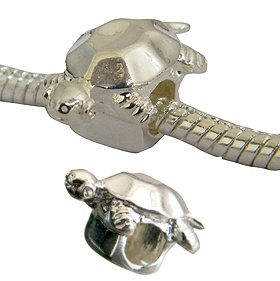 Silver Turtle charm bead - fits pandora & troll bracelets - hand polished and hand finished to fine jewellery standard - packed in a lovely velvet pouchette