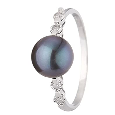 Women's The Black Diamond, Diamond Ring 9 ct White Gold Diamond and Cultured Pearl - Size 58