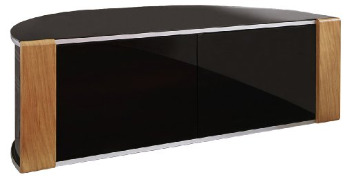 S & C ZIN552685/BKI Remote Friendly Beam Thru Glass Door Walnut / High Gloss Piano Black with Brushed Aluminium Trim 40