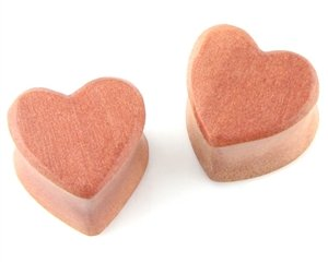 Heart Shaped Wood Earplugs Gauges 1/2in