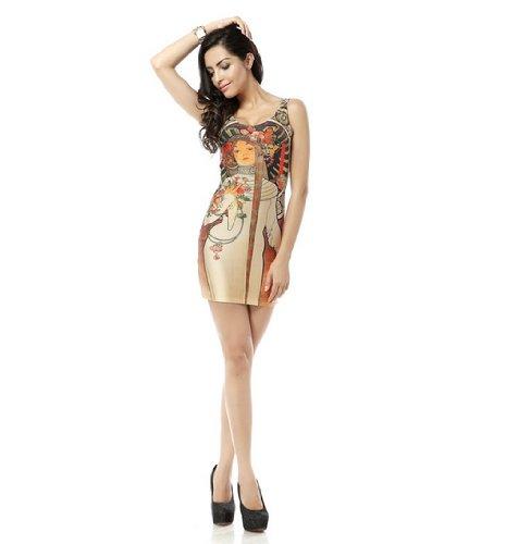 Ndb-C9 Fashion Personality Slim Flexible Digital Printing Dress (Only One Size, For Slim Girls)