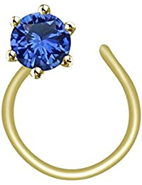 Atjewels 14K Yellow Gold Over 925 Sterling Silver Round Blue Sapphire Nose Pin