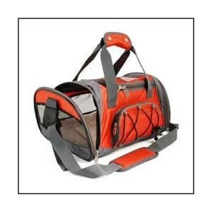 SHERPA SPORT DUFFLE Dog Cat Animal Pet Carrier Bag &amp; Tote. Airline/Subway/Rail Approved. Size-Medium Color-Red w/ Reflective Sliver Trim