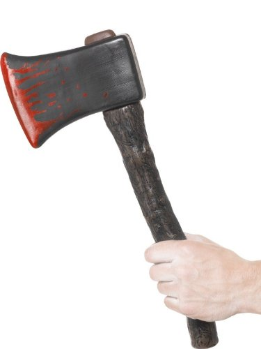 Smiffy's Men's Axe with Blood Splatter with Wooden Effect Handle 38Cm with Tag Card, Multi, One Size - 1