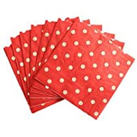 Indiagiftcart Polka Dot Paper Napkin (Pack Of 20) - Red
