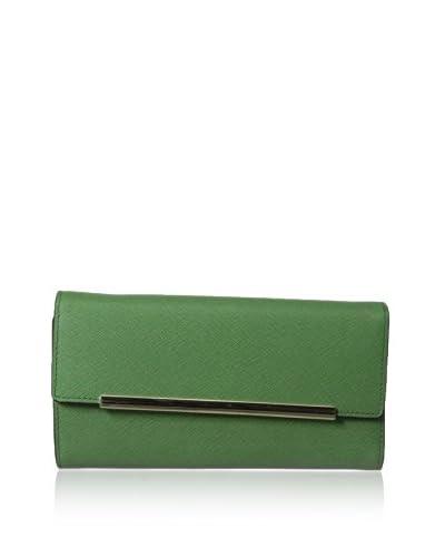 Rowallan of Scotland Women's Ava Saffiano Leather Tri-Fold Wallet, Emerald