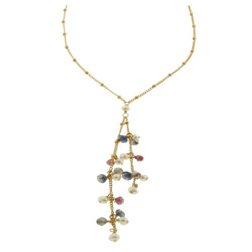 Cluster Dangle Gemstone Necklace