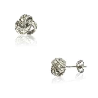 Casual Jewelry Stud Earrings 925 Sterling Silver with Radiant CZ