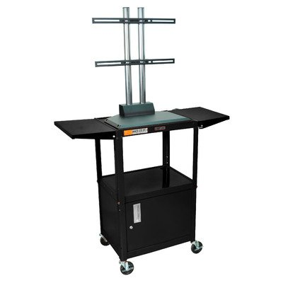 Luxor Adjustable Height Flat Panel Cart With Cabinet And Drop Leaf Shelves