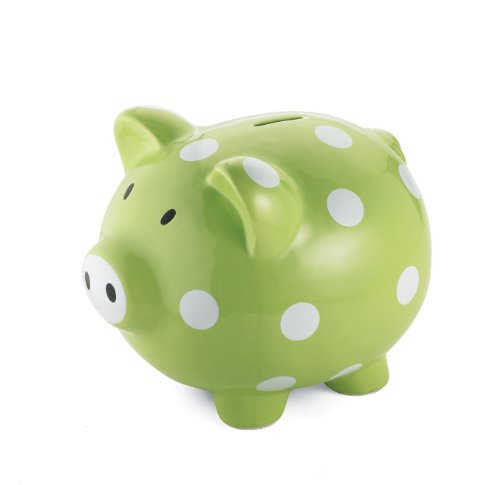 Mud Pie Baby Ceramic Polka-Dot Piggy Bank, Green/White