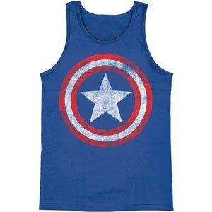 Marvel Comics Captain America Distressed Shield Royal Blue Tank (X-Large) front-501003