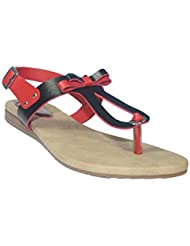 Halzz Women's Black And Red Faux Leather Flat Sandals