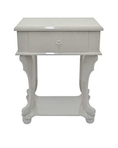 Three Hands Wood Side Table with Drawer, Grey As You See