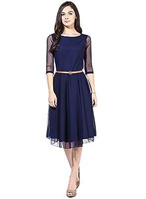 Sanjana Design Designer Womens Faux Net and Slick Princess Cut Dress (Western wear) (SC8399_Free Size_Blue)