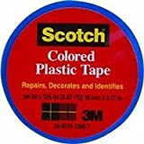 "3M Scotch 190 Colored Plastic Tape, 125"" Length x 3/4"" Width, Blue"