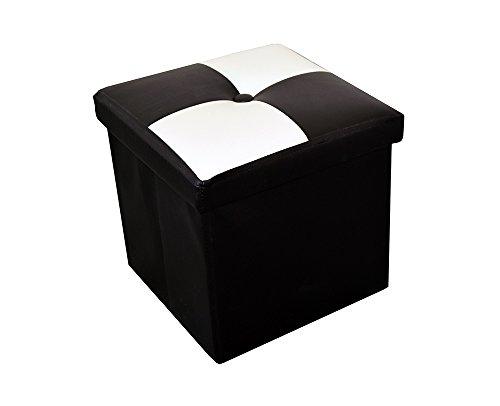 Rebecca Srl Pouf Puff Pouff Puf Contenitore Baule Poggiapiedi Quadrato Bianco Nero Moderno Soggiorno Camera Living (cod. 6078 2 1)