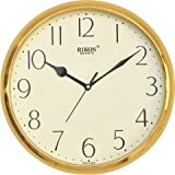 Rikon Quartz Plastic Round Shape 28 Cm X 28 Cm Fancy Premium Home Decor Wall Clock (Golden Ivory) For Home And...