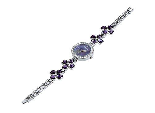 Ledhill KIMIO Shamrock Crystal Flowers Stainless Steel Link Ladies Bracelet Quartz Watch K456L with Clear Acrylic Case (PURPLE)