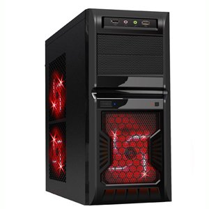 K3 Gaming ATX Case with HD Audio, USB 3.0, 120mm Red LED FanCustomer reviews