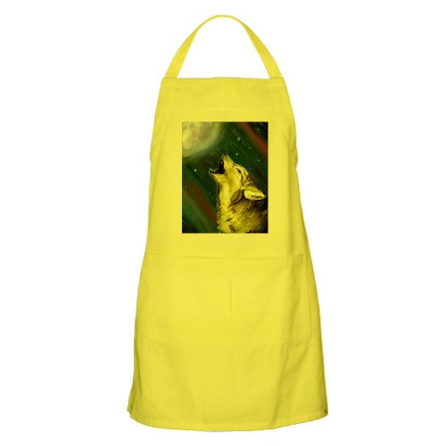 Cafepress Wolf And Full Moon BBQ Apron - Standard