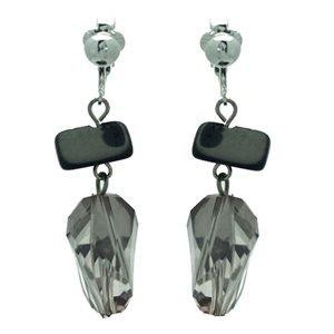Damani Silver Black Smoke Clip On Earrings
