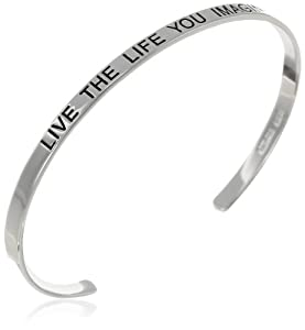 "Sterling Silver ""Live The Life You Imagine"" Inspirational Cuff Bracelet by Amazon Curated Collection"