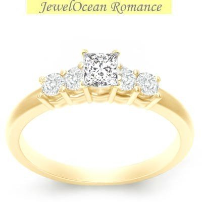 0.58 Carat Discount Diamond Engagement Ring with Princess cut Diamond on 14K Yellow gold