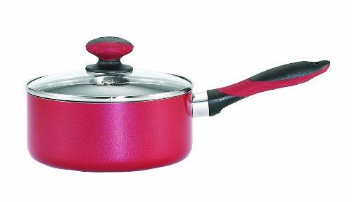 Mirro A79624 Get A Grip Aluminum Nonstick Saucepan with Glass Lid Cookware, 3-Quart, Red