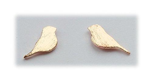 Uccelli orecchini, colore: oro rosa, cod. na