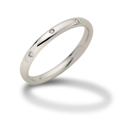 Miore 18ct White Gold Band Ring with Diamonds