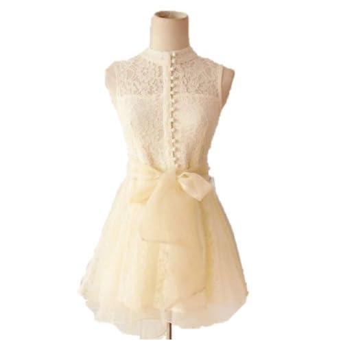 レース ワンピース マルチバックル襟 スリムノースリーブ メッシュレース パーティ プリンセスドレス ステッチレースのドレス ベージュ