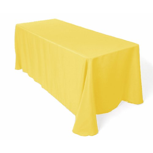 Rectangle 90 By 132 Polyester Tablecloth Lemon