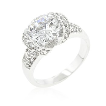 J Goodin Tension Set Cubic Zirconia Engagement Ring Size 6