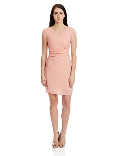 The Vanca Women's Georgette Skater Dress (DRF500431-Peach-M )