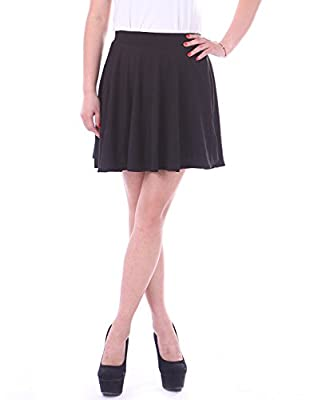 HDE Women Fashion Solid Colour Jersey Knit Flared A-Line Mini Skater Circle Skirt